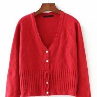 Wanita Ribbed Cardigan Sweater Button Sweater Longgar Lengan Panjang K