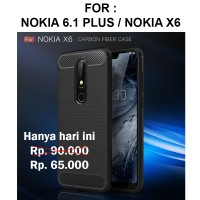 Case Nokia 6.1 Plus X6 softcase carbon casing hp back cover FIBER LINE