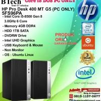 HP PRO DESK 400 MT G5 - 5FS96PA Core i5-8500/4GB/1TB/DOS/3YR PC ONLY