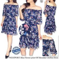 Dress sabrina floral bahan chiffon branded Westport