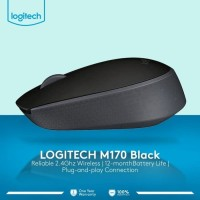 MOUSE WIRELESS LOGITECH M170 ORIGINAL HITAM ONLY Gransi