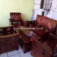 Stock Kursi Tamu Jati Flamboyan Minimalis Tersedia