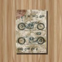 Poster Vintage + Bingkai Kayu Motor Chicara Classic