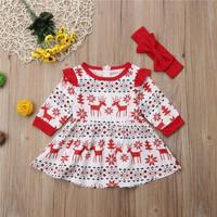 baju bayi dress dengan headband merah christmas season for baby girl