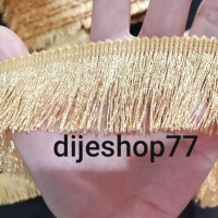 Harga renda rumbai 4cm gombyok emas gold lis jilbab baju dekorasi hias | antitipu.com