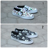 Sepatu Vans Authentic Old School Slop Motif Skeleton