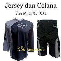 Paket Baju Kaos Jersey Sepeda FOX Downhill Plus celana padding