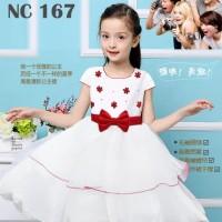 Dress tutu anak putih bunga merah NC 167