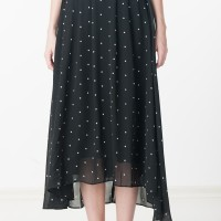 Eelyn Polka Dotted Maxi Skirt in Black From Ninth Collective