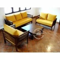 Meja Kursi Kayu Jati Model Minimalis/ Sofa Kursi Ruang Tamu Free Ongki