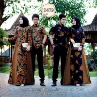 Batik Couple / Batik Sarimbit Gamis Sogan Batik D2479