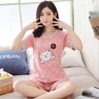 Baju Tidur / Piyama Pajamas Kaos hp Wanita Dewasa / Cewek Motif Kucing