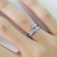 Cincin Perak Asli S925 Pria Wanita Feather Silver Ring Free Si Diskon