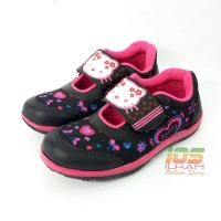 Sporty Hello Kitty Sepatu Anak TK Perempuan Size 26-30 Hitam Pink