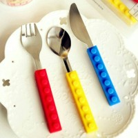 sendok garpu dan pisau stainless bentuk lego - kkn005
