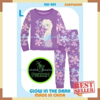 Piyama baju tidur anak gw 285 princess elsa frozen glow in the dark