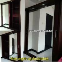 Lemari Pakaian 2 Pintu Jumbo Sliding Full Cermin Besar Paten