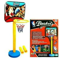 mainan anak basket ball set tiang ring dan bola 1 set