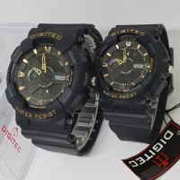 Jam Tangan Digitec Couple DG 2020T DG 2063T Black Gold Original Murah