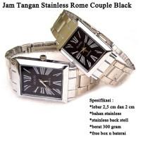 jam tangan Pasangan Stainless Silver Rome BLACK