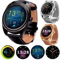 Smartwatch Dial Bulat Strap Kulit Fungsi Pedometer/Bluetooth/M