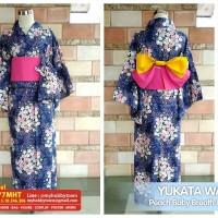 Yukata/Kimono Wanita : Navy Blue Daffodil