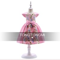 DRESS ANAK PEREMPUAN TONG TONG MI PINK FLOWER BORDIR IMPORT