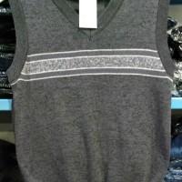 Sweater Rompi V Neck KERAH V Pria Abu-Abu Corak Garis Trendy 8622082 R
