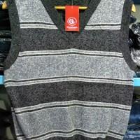 Sweater Rompi V Neck KERAH V Wanita Abu-Abu Terang Garis - 8622084 R