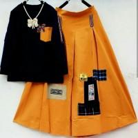 Set M Beauty Atasan Combat/Setelan Blouse Rok/Set Kaos Rok Rempel