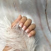 24 Tips Medium French Tip Fake Nails / Kuku Palsu Natural