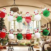 Banner / Gantungan Dekorasi Honey Comb Natal / Christmas Set 6 pcs