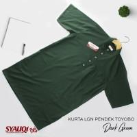 Kurta / Gamis Saudi Lengan Pendek Syauqi Toyobo Hijau Gelap Polos