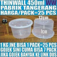 Thinwall 450ml 25pcs mangkok mangkuk bowl bulat plastik es kepal milo