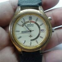 jam tangan bekas SEIKO kinetic pria tali kulit lume terang