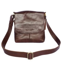 Sling Bag Kulit Sergio Dark Brown