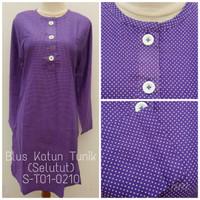 Blus Katun Tunik (Selutut) Polkadot S-T01-0210 Ungu Orchid
