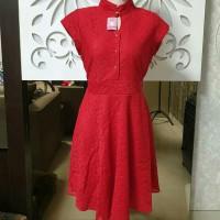 Baju Fashion Wanita Brukat Dress Cheongsam Imlek Import
