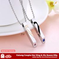 Kalung Couple Her King & His Queen R89 Titanium