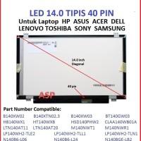 Harga lcd led 14 0 slim 40pin asus x401a x401u x402c x501a u47a s400c | Pembandingharga.com