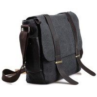 1a4a6130a TERBARU Tas Selempang Pria Korean Canvas Messenger Bag - Black/Gray
