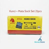 Kunci Sok Set / Socket Wrench Set 4mm - 21mm & Gagang.