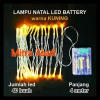 GRATIS ONGKIR Lampu Natal LED Kuning/Yellow Baterai/Batre A2 Panjang 4