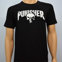 Pakaian Pria Kaos Baju Tshirt Superhero PUNISHER FONT HD