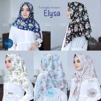 Jilbab Instan Segiempat Motif Bunga/Elysa Bahan Velvet Twist