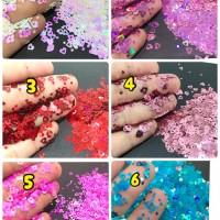 Heart glitter love glitter aksesoris kuku nail art make up valentine