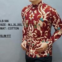 Harga baju kemeja batik slimfit lengan panjang casual formal kerja d | Pembandingharga.com