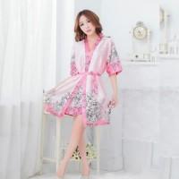 Kimono Floral Pink Seksi Baju Tidur Lace Sexy Lingerie G-String KL16