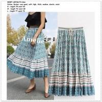 40c4bf4af394d4 Rok Panjang Midi Long Skirt Wanita Boho Bohemian AB746174 Blue Biru