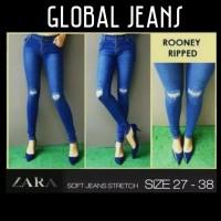 Celana Jeans ZARA Blue Ripped Rooney / Jeans Biru Sobek Wanita